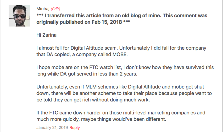 User reviews on Digital Altitude and MOBE scams.